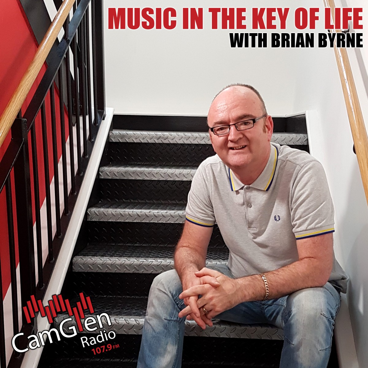Brian Byrne on the stairs outside the studio