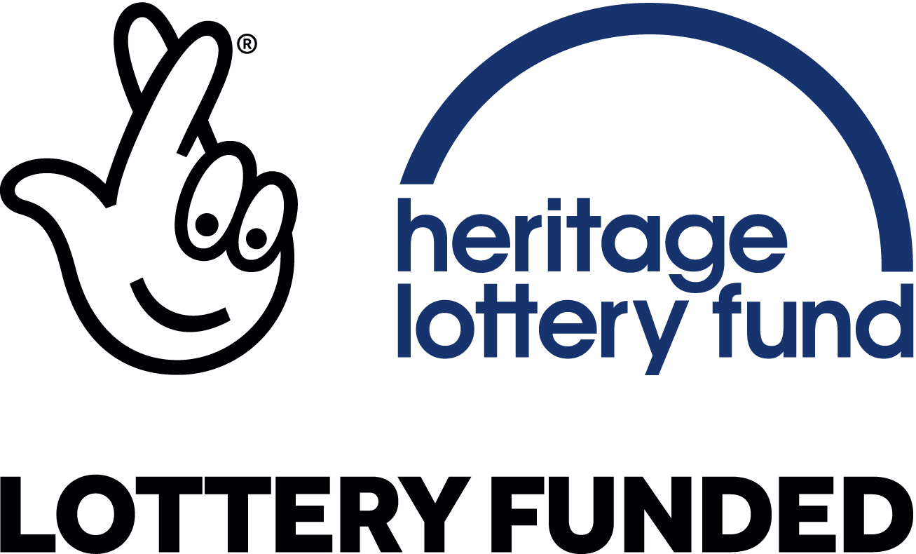 Logo of the Heritage Lottery Fund, with the words LOTTERY FUNDED below it.